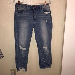 KanCan pearl encrusted jeans